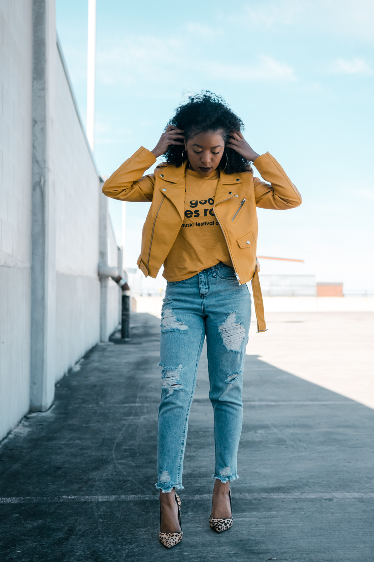 how to style a yellow leather jacket