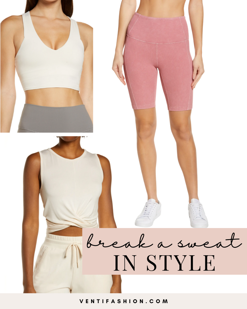 Alo and Zella workout wear including an ivory sports bra, eggshell crop top, and mauve biker shorts