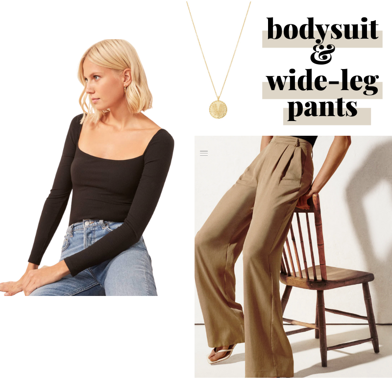 Wide leg trousers and bodysuit work-from-home outfit idea