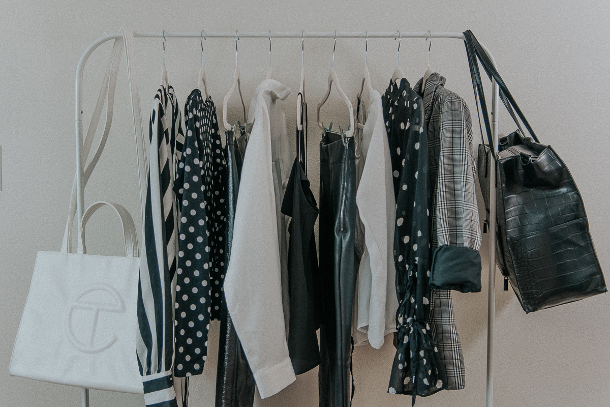 Black and White clothing rack aesthetic