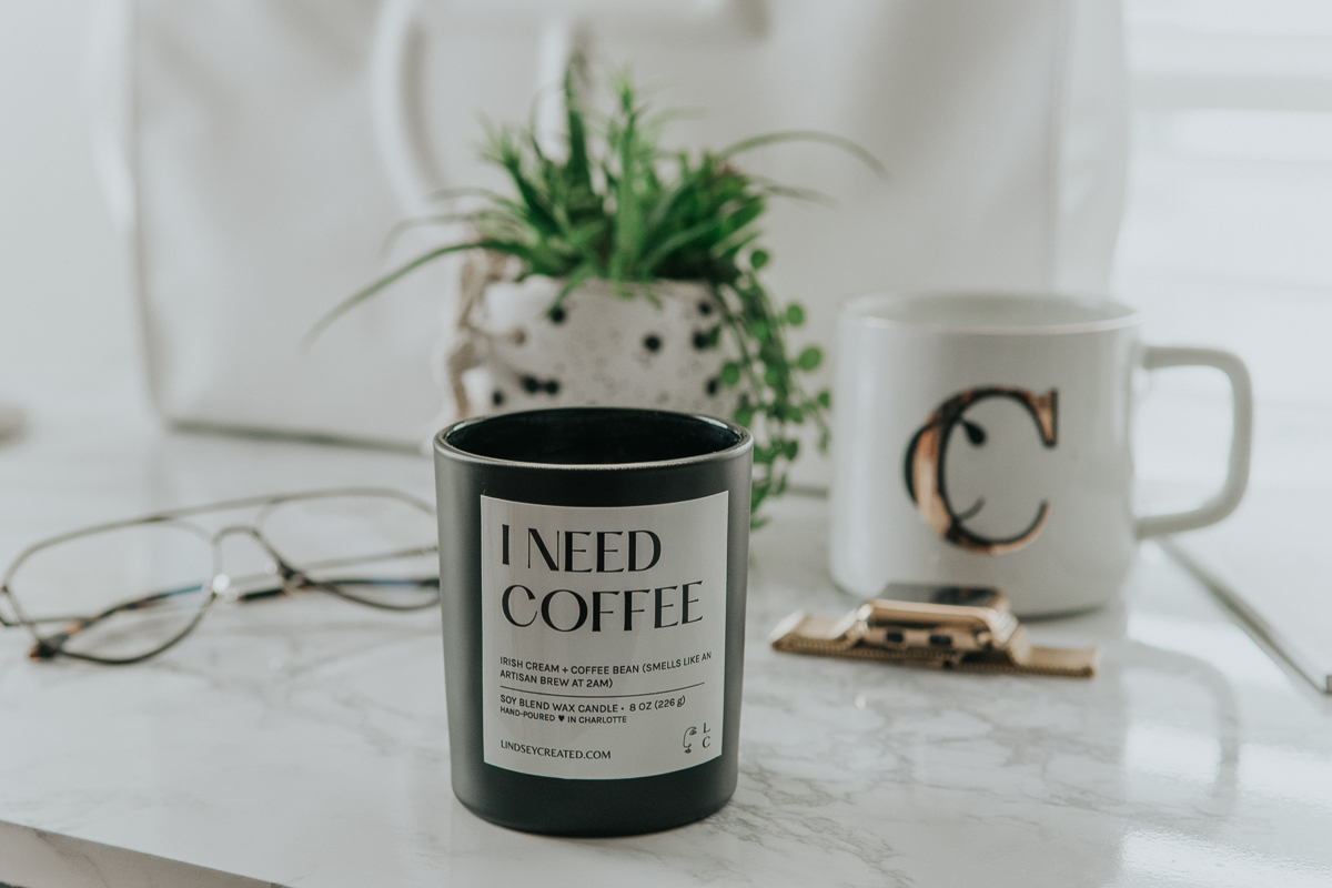 Lindsey Created I Need Coffee Scented Soy Wax Candle